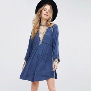 Free People Go Lightly blue knit boho tunic dress